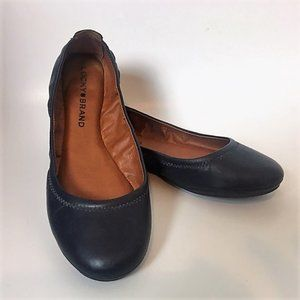 Lucky Brand Leather Ballet Flat Navy Size 7